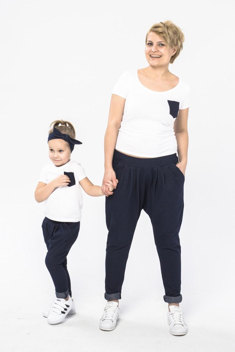 2Komplet mama i córka - spodnie baggy w casulowo - eleganckim wydaniu