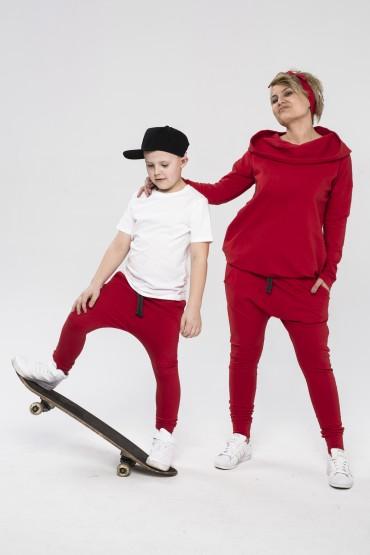 Mama i syn - zestaw tuniki damskiej i spodni baggy dla chłopca - czerwień