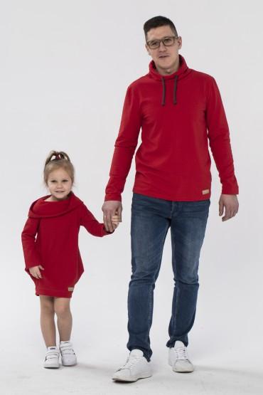 Tata i córka - zestaw tuniki dla dziewczynki oraz bluzy dla taty - czerwień