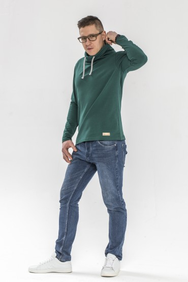 Męska bluza z kominem - zieleń