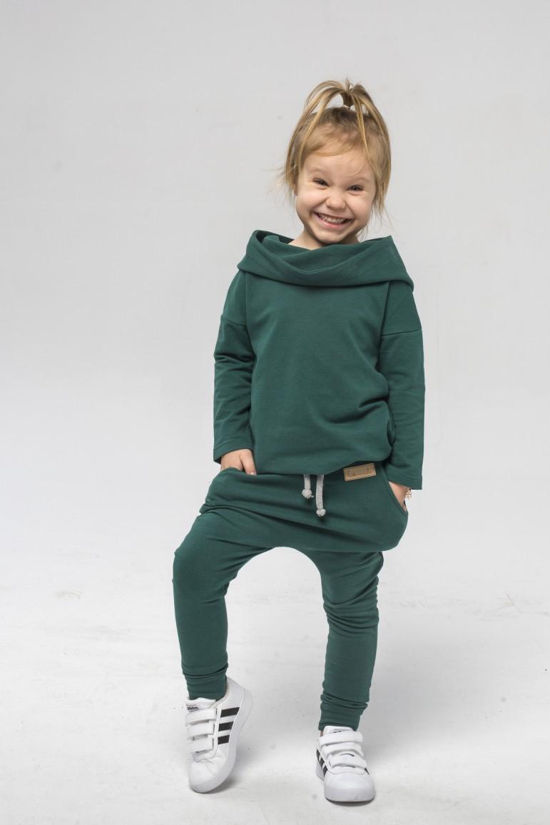 2Spodnie baggy dla chłopca i dziewczynki - butelkowa zieleń