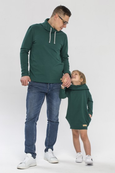 Tata i córka - zestaw tuniki dla dziewczynki oraz bluzy męskiej - butelkowa zieleń