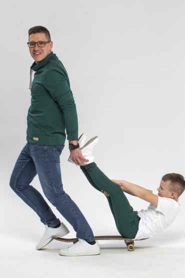 Tata i syn - zestaw męskiej bluzy i spodni baggy dla chłopca - zieleń