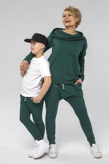 Mama i syn - zestaw tuniki damskiej i spodni baggy dla chłopca - zieleń