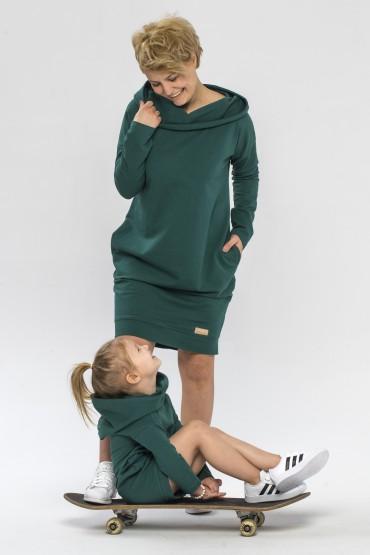 Tuniko-sukienka dla mamy i córki z kapturem - zieleń