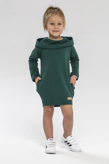 Zielona dresowa tunika z kapturem dla dziewczynki