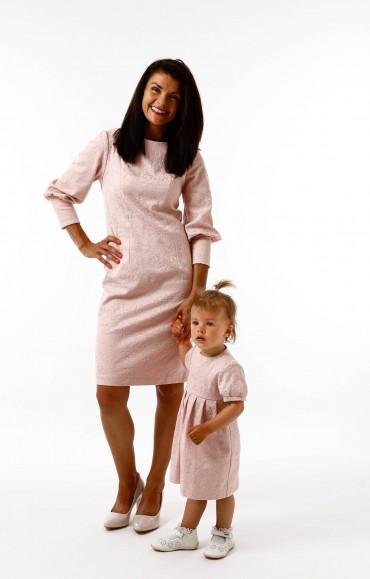 Sukienki dla mamy i córki Królewska Perła Pudrowy Róż