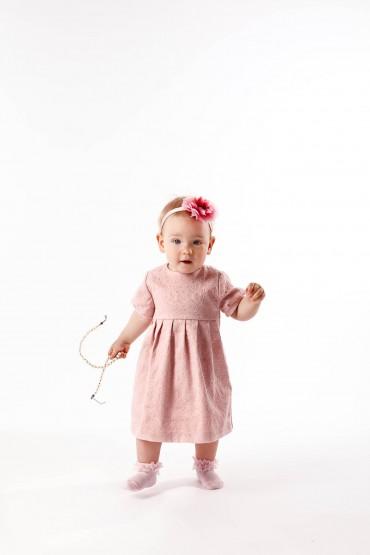 Królewska Perełka Pudrowy Róż - elegancka sukienka dla dziewczynki