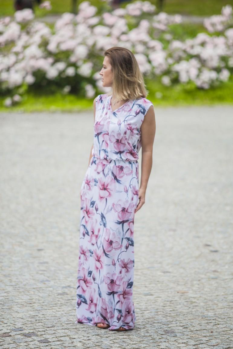 2Letnia długa sukienka damska - Kwiat magnolii