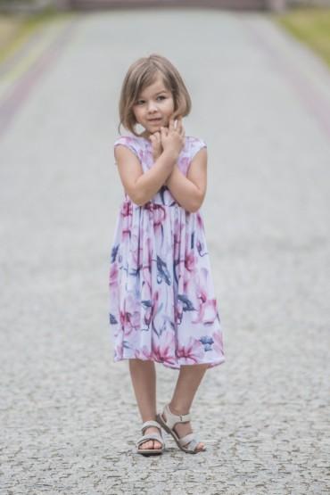 Letnia sukienaka dla dziewczynki - Kwiat magnolii