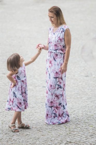 Komplet letnich sukienek dla mamy i córki - Kwiat magnolii
