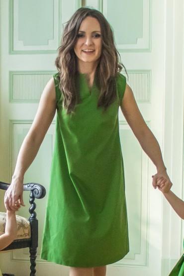 Zielona sukienka damska z kontrafałdą