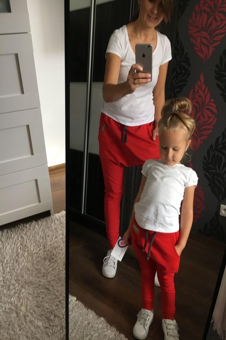 2Spodnie dla mamy i córki lub syna - Family in Red