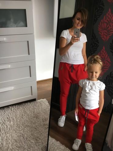 Spodnie baggy dla mamy i syna czerwone