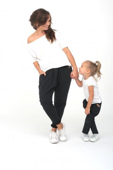 Spodnie grafitowe z opuszczonym krokiem dla mamy i córki