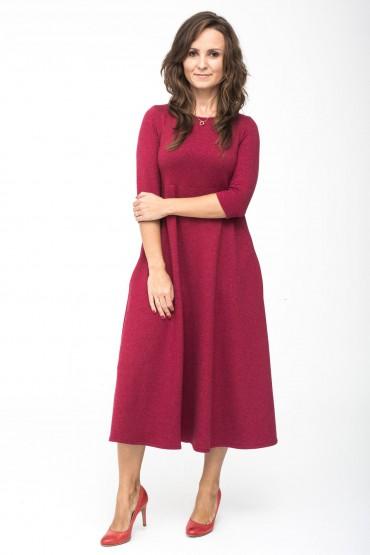 Sukienka damska midi - Burgund