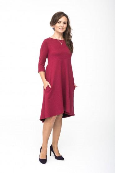 Sukienka z przedłużonym tyłem - Burgund