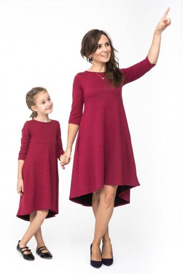 Komplet sukienek dla mamy i córki z przedłużonym tyłem - Burgund