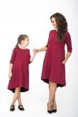 2Komplet sukienek dla mamy i córki z przedłużonym tyłem - Burgund