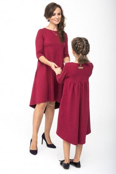 sukienki dla mamy i córki bordowe