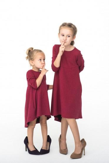 Komplet sukienek z przedłużonym tyłem dla siostrzyczek