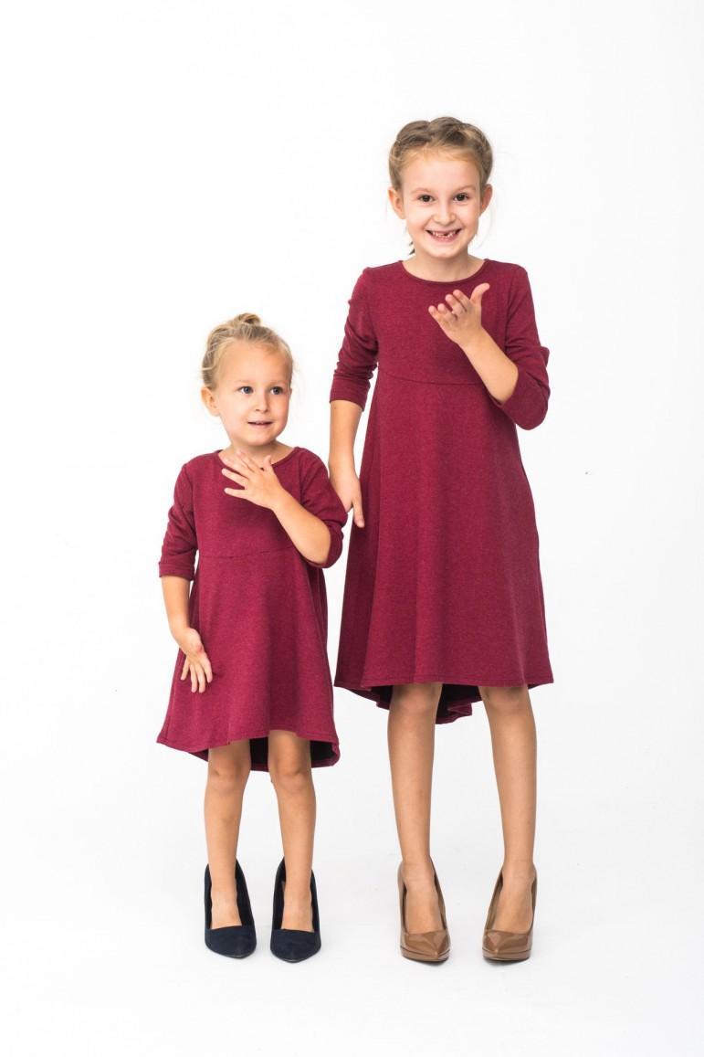 2Komplet sukienek z przedłużonym tyłem dla siostrzyczek
