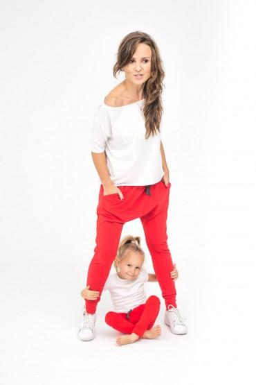 Spodnie dla mamy i córki lub syna - Family in Red