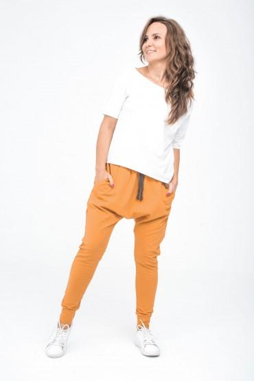 Spodnie damskie typu baggy - Karmel