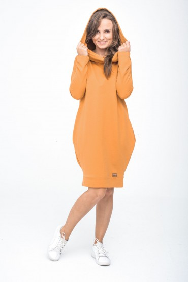 Women's hooded tracksuit tunic - Caramel