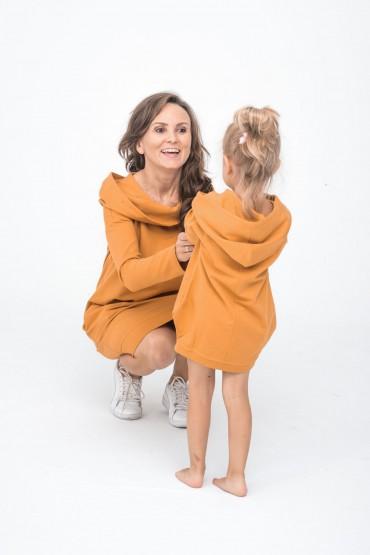sukienka dla mamy i córki z kapturem