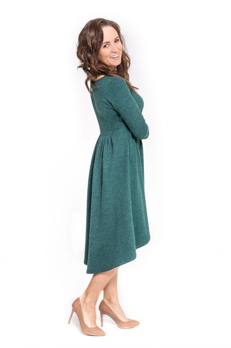 Zielona sukienka damska z przedłużonym tyłem