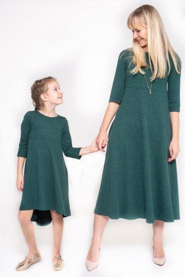 copy of Komplet sukienek dla mamy i córki z przedłużonym tyłem - Burgund