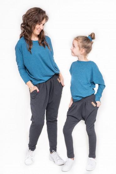 Komplet bluzek dla mamy i córki typu nietoperz - Blue Sky