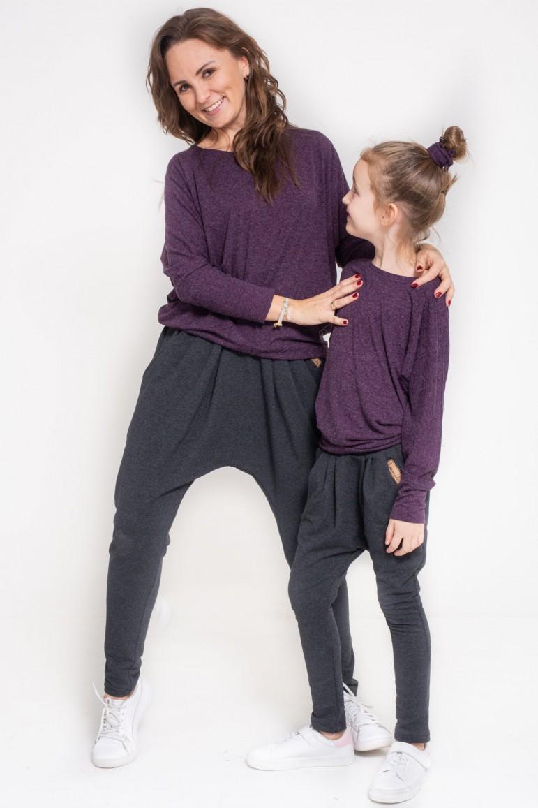 2copy of Komplet bluzek dla mamy i córki typu nietoperz - Blue Sky