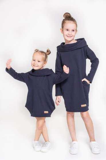Zestaw takich samych tunik dla dziewczynek - Dark Blue