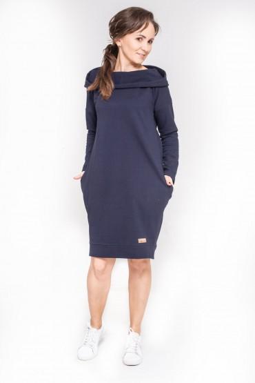 Damska tunika, sukienka z kapturem - Dark Blue