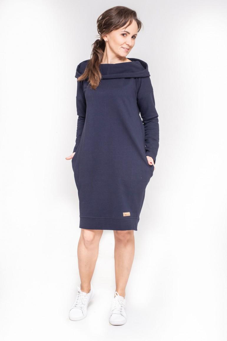 2copy of Damska tunika, sukienka z kapturem - Burgund