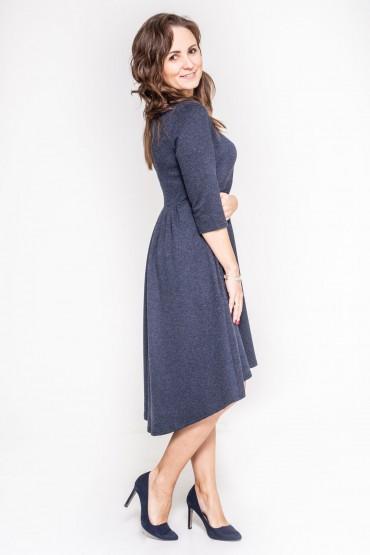 Sukienka z przedłużonym tyłem - Granat