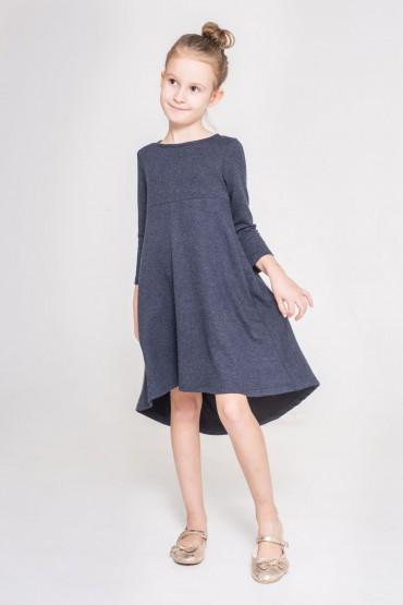 Sukienka z przedłuzonym tyłem - Granat