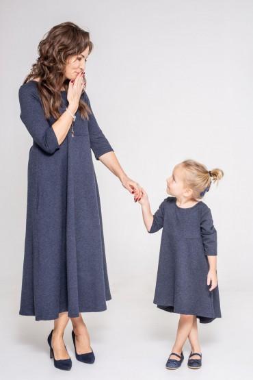 Komplet sukienek dla mamy i córki wersja midi i z przedłużonym tyłemGranat