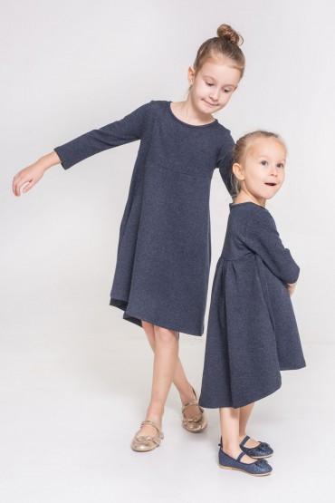 Komplet sukienek z przedłużonym tyłem dla siostrzyczek - Granat