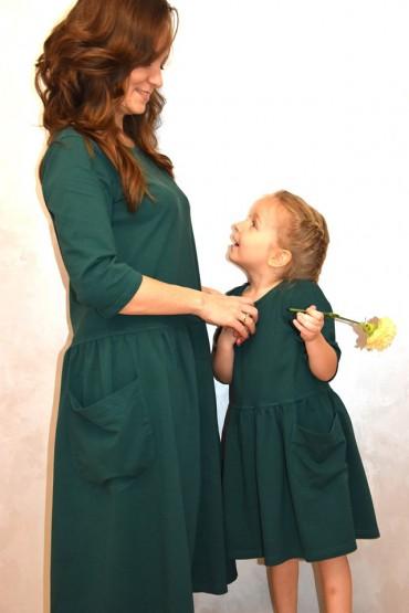 Sukienki dla mamy i córki z kieszeniami - zielone