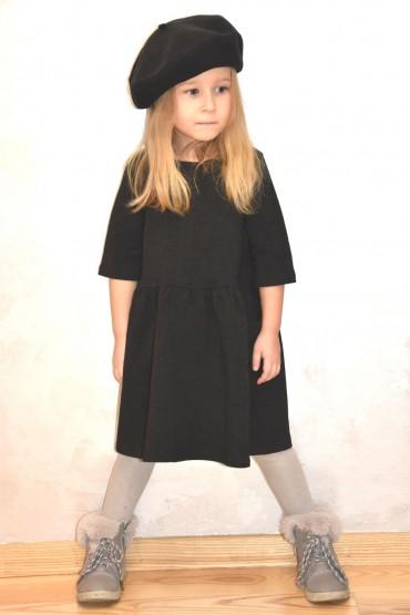 Dzianinowa stylowa sukienka z kieszeniami dla dziewczynki - czarna