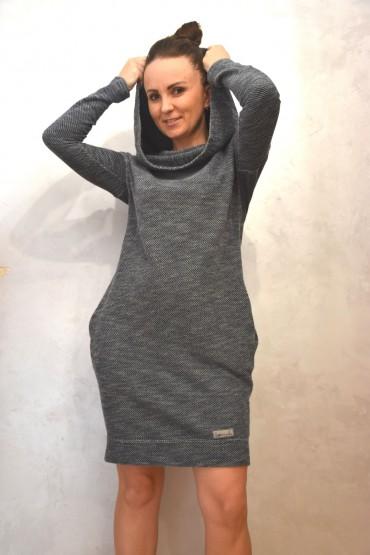 Tunika z kapturem - sweterkowa dzianina w melanżowym odcieniu