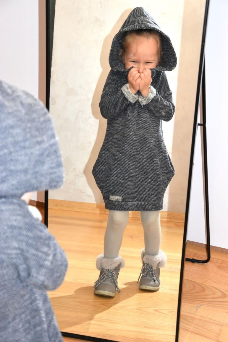 2Tuniko - sukienka dla dziewczynki - swetrowy melanż