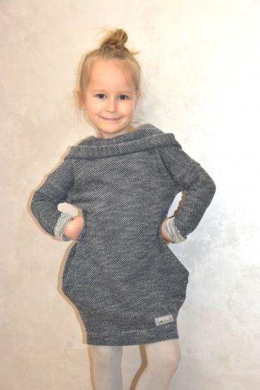 Tuniko - sukienka dla dziewczynki - swetrowy melanż