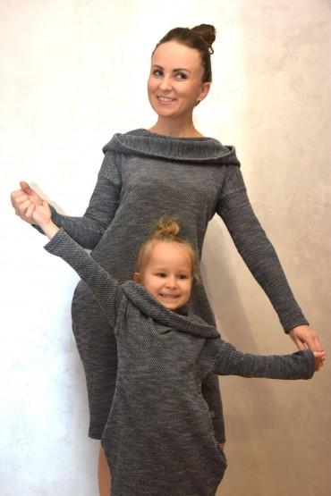 Komplet tunik dla mamy i córki - sweterkowy melanż