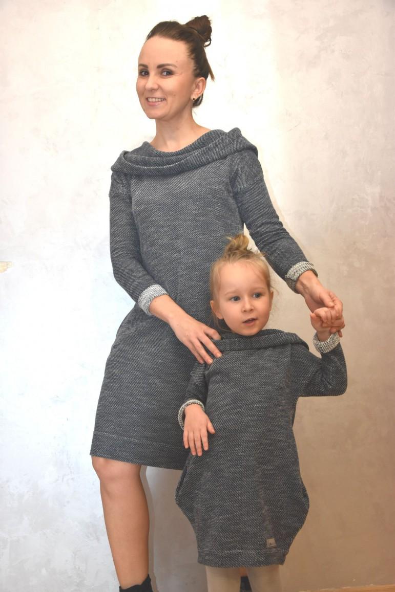2Komplet tunik dla mamy i córki - swetrowy melanż
