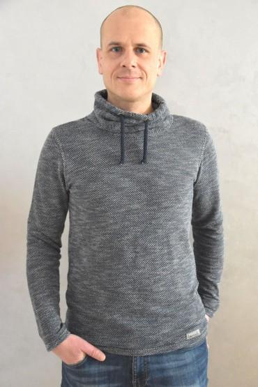 Męska bluza z kominem - swetrowy melanż