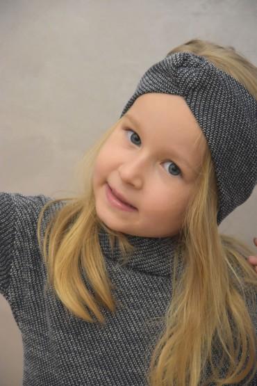 Opaska na głowę dla dziewczynki  - sweterkowy melanż